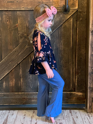 Navy Floral Top with Bell Sleeves