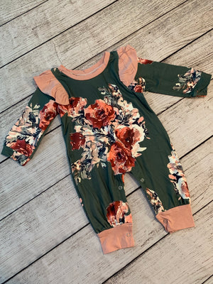 Floral Footless Sleeper with Ruffle Shoulders