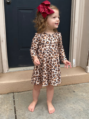 Leopard Fit & Flare Long Sleeve Dress