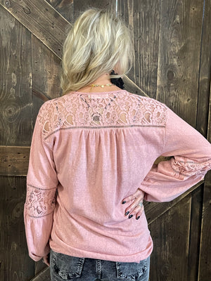 Bubble Sleeve Tunic Top with Lace Detail