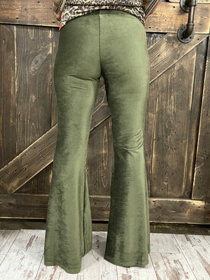 Corduroy Bell Bottom Pants in Olive