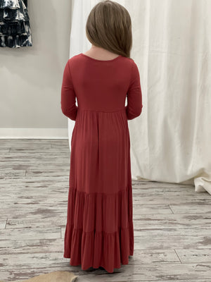 3/4 Sleeve Tiered Ruffle Maxi Dress