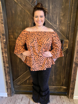 Smocked On/ Off Shoulder Animal Print Top