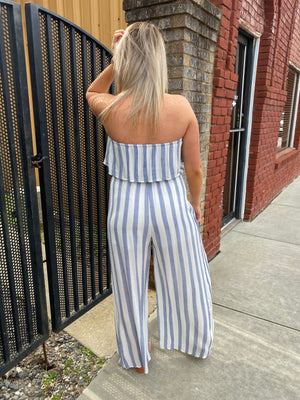 Tulip Wide Leg Striped Tube Top Jumpsuit