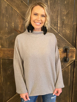 Oversized Ribbed Turtleneck Top