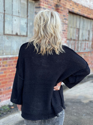 Chunky Knit Sweater in Black