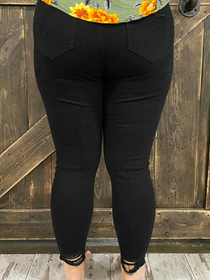 Destroyed Cutout Skinny Jean in Black