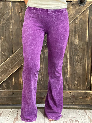 Washed Bell Bottom Flare Pants in Purple