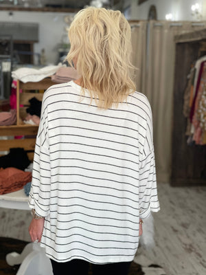 Striped Cuff Sleeve Top with Chest Pocket