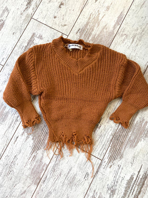 Distressed Sweater in Camel