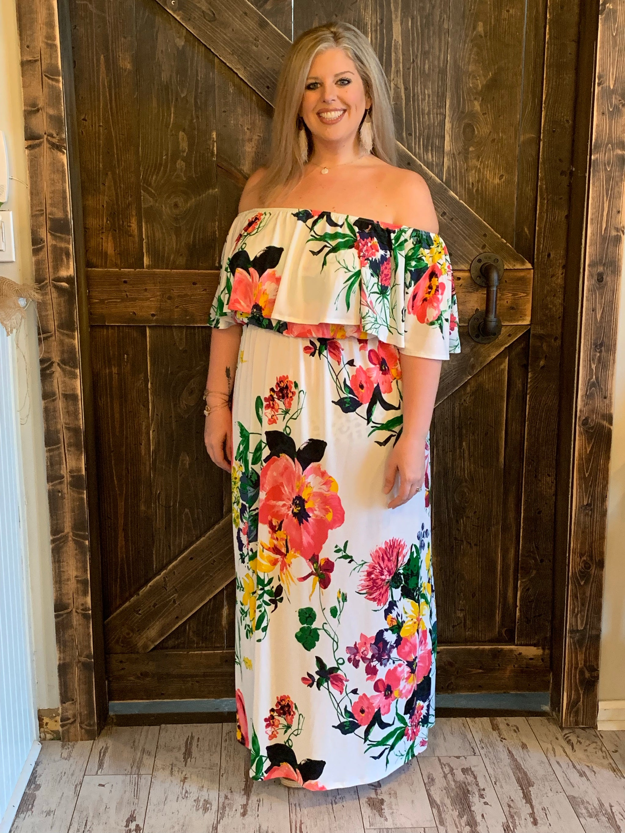 2f2d4d279794 Floral On  Off Shoulder Dress with Ruffle Overlay