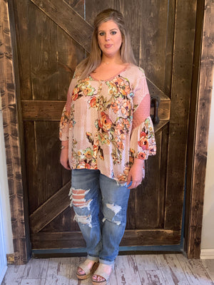 Bell Sleeve Button Down Floral Top