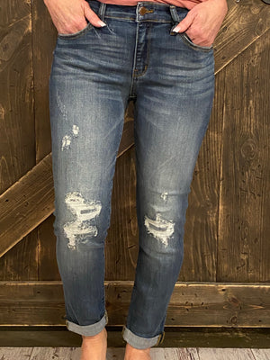 Cuffed Hidden Patch Boyfriend Jeans