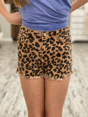 Distressed Leopard Denim Shorts
