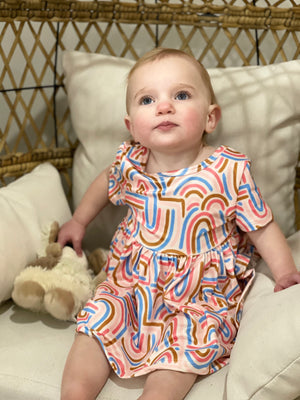 Rainbow Printed Babydoll Dress