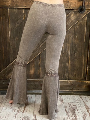 Mineral Wash Waffle Bell Bottom Pants in Desert Taupe
