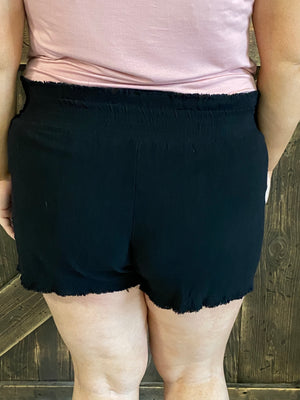 High Waisted Ruffle Hem Shorts