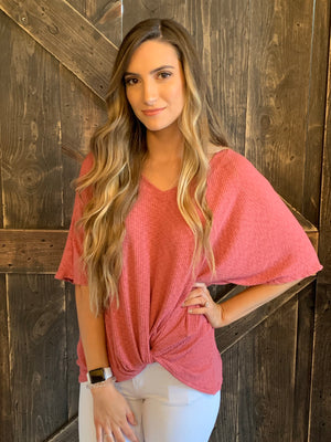 Ribbed Top with Front Knot in Marsala