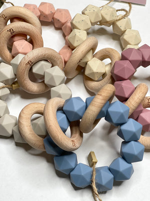 Silicone & Wooden Teething Rattle