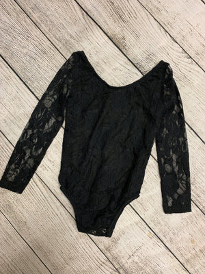 Long Sleeve Lace Leotard in Black