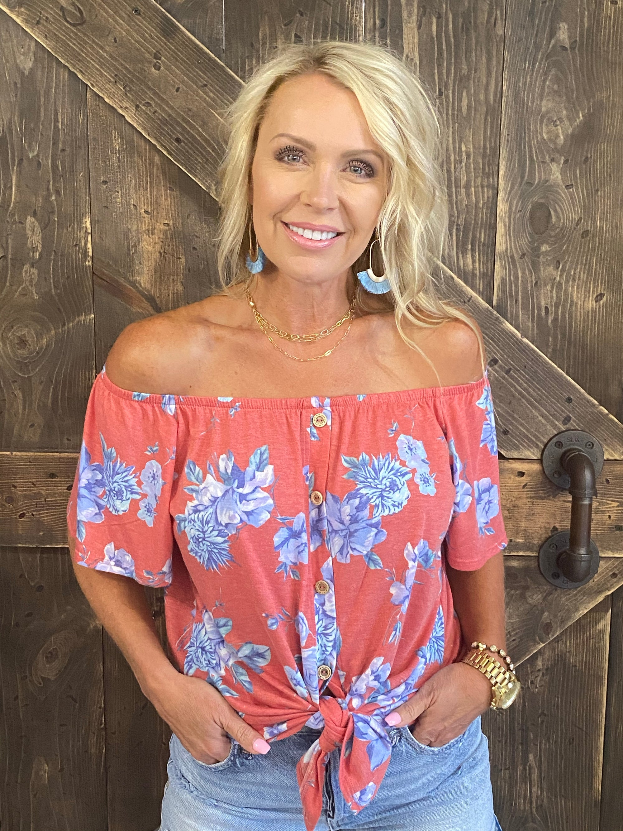 Floral On/Off Shoulder Top with Front Tie in Blue Mix