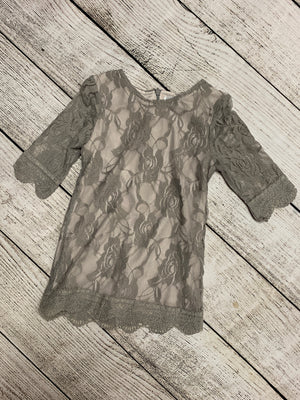 3/4 Sleeve Lace Dress in Grey