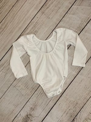Low Back Long Sleeve Onesie in White
