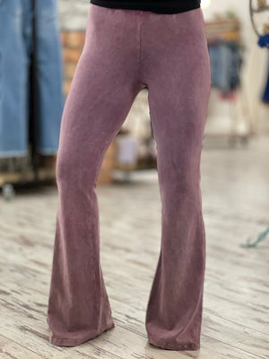 Washed Bell Bottom Flare Pants in Mauve