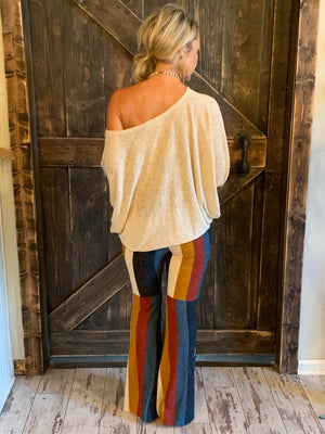 Brushed Knit Striped Bell Bottom Pants