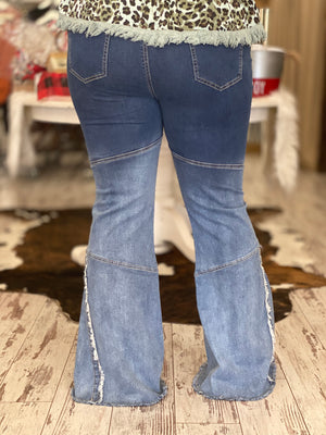Ombre Raw Hem Bell Bottom Jeans
