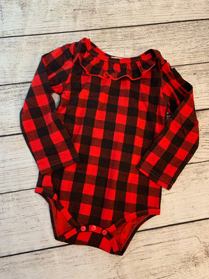 Buffalo Plaid Onesie with Ruffle Detail