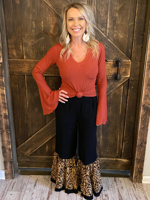 Leopard Wide Leg Ruffled Pants