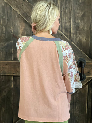 Oversized Mixed Print Sleeve Top with Lace Detail