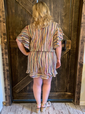 Multicolor Striped Romper with Ruffle Hem