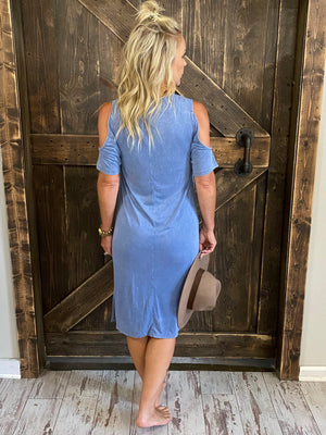 Washed Cold Shoulder Shirt Dress