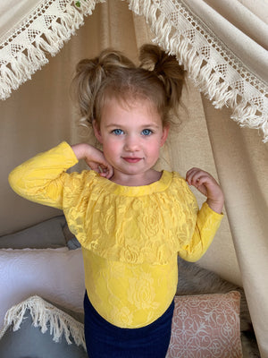 Lace Off Shoulder Leotard in Yellow