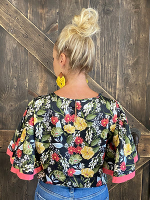 Floral Winged Sleeve Top