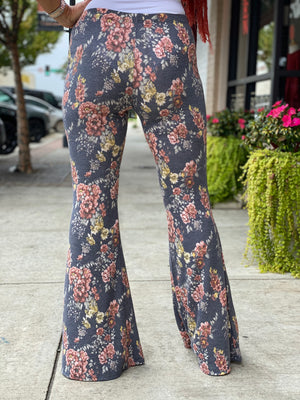 Floral Bell Bottom Pants in Navy