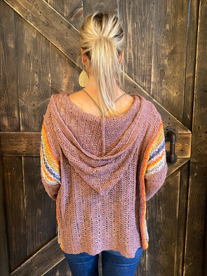 Striped Hooded Multicolor Knit Top in Mauve