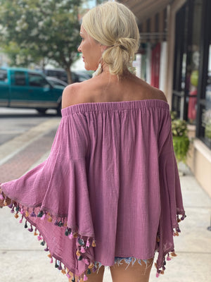 Multi Color Fringe Off Shoulder Top