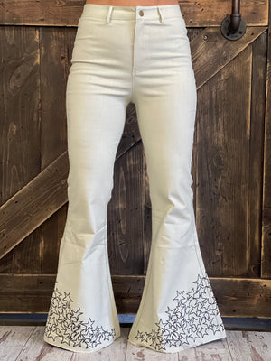 Embroidered Star Bell Bottom Jeans