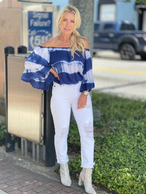Tie Dye Off Shoulder Top in Navy