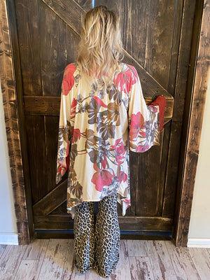 Boho Floral Print Open Front Cardigan