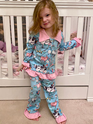 On The Farm Ruffle Pajama Set
