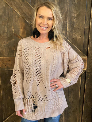 Distressed Sweater with Fringe Detail