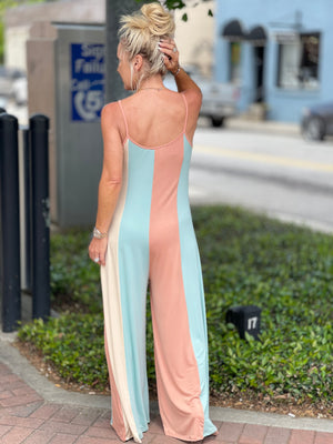 Striped Wide Leg Jumpsuit in Coral Mix