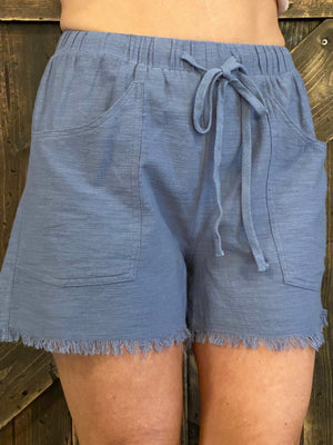 Frayed Hem Shorts with Drawstring in Blue