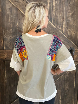 Boho Patchwork Knit Top