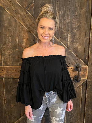 Off Shoulder Layered Ruffle Bell Sleeve Top