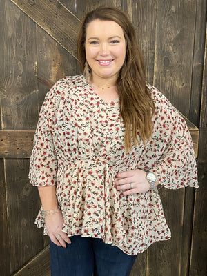 Floral Peplum Top with Dolman Sleeves